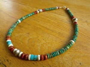 Tibetan Turquoise with Red Coral, White Howlite, Nacozari Turquoise & German African Silver