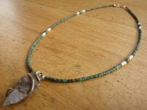 Ma'an Shan Turquoise with White Moonshell & Flint Knapped Arrowhead Pendant with Forged Silver Wrap