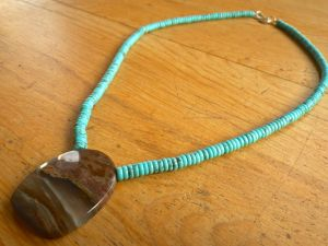 Nacozari Turquoise with Mexican Agate Pendant