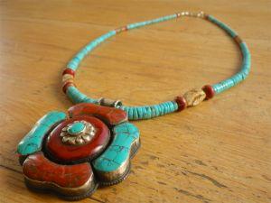 Antique Tibetan Turquoise & Coral Amulet w/ Nacozari Turquoise
