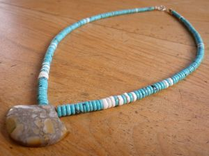 Nacozari Turquoise with White Clamshell & Sea Sediment Serpentine Pendant